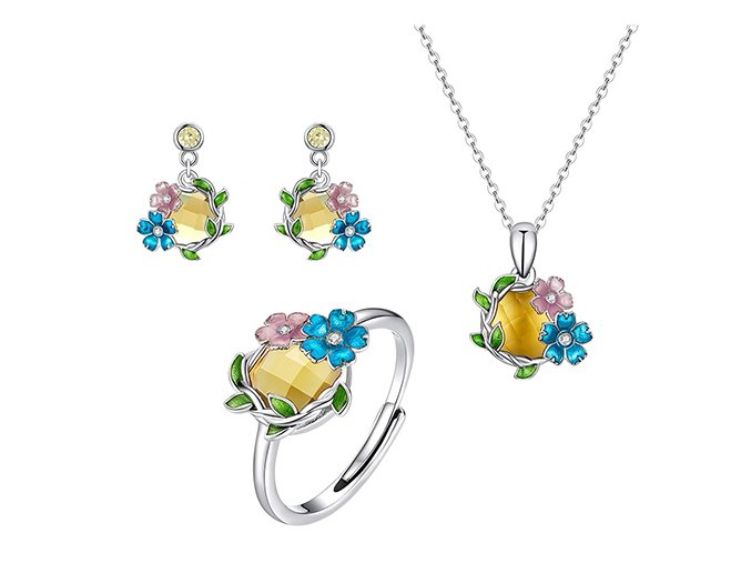 stříbrná sada šperků jarní věnec