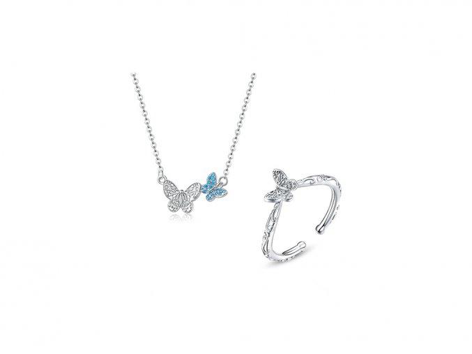Stříbrná sada šperků Motýlek SSS9