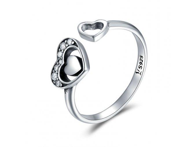 pandjjewellery stribrny prsten otevrene srdce