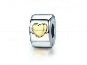 pandjjewellery stribrny klip Zlate srdce(1)