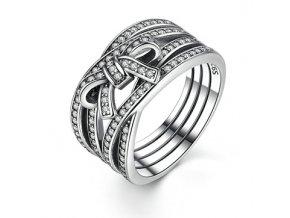 P&J Stříbrný prsten Propletená mašlička SRP11