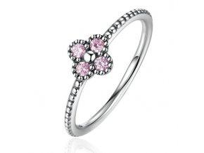 P&J Stříbrný prsten Růžové korálky SRP6