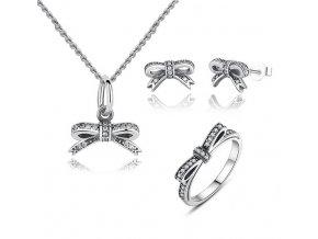 stříbrná sada šperků třpytivá mašlička