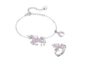 stříbrná sada šperků růžový jednorožec