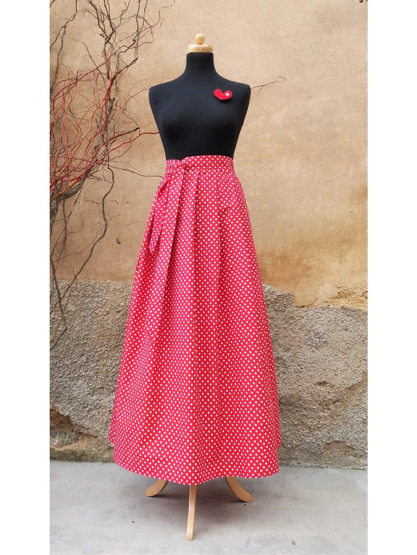 Dlouhá zavinovací sukně - červená s bílým puntíkem