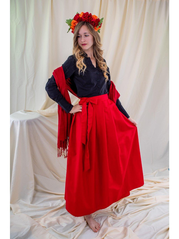 Dlouhá zavinovací sukně - červená
