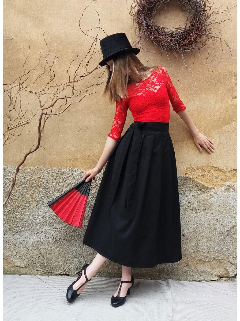 Dlouhá zavinovací sukně - černá