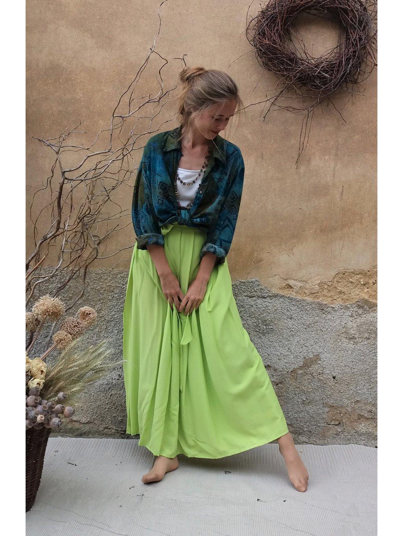 Dlouhá zavinovací sukně - hebká zelinkavá