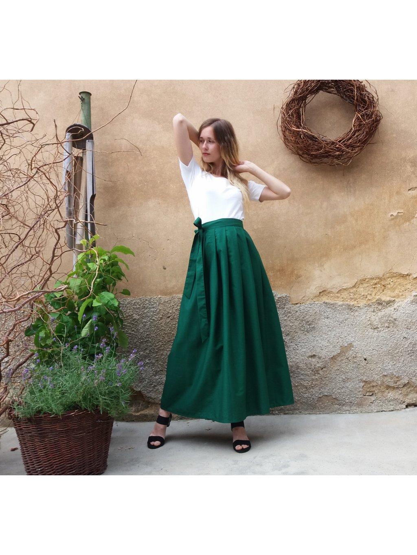 Dlouhá zavinovací sukně - smaragdová