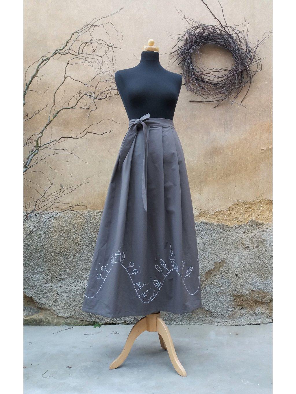 Dlouhá zavinovací sukně - ruční malba