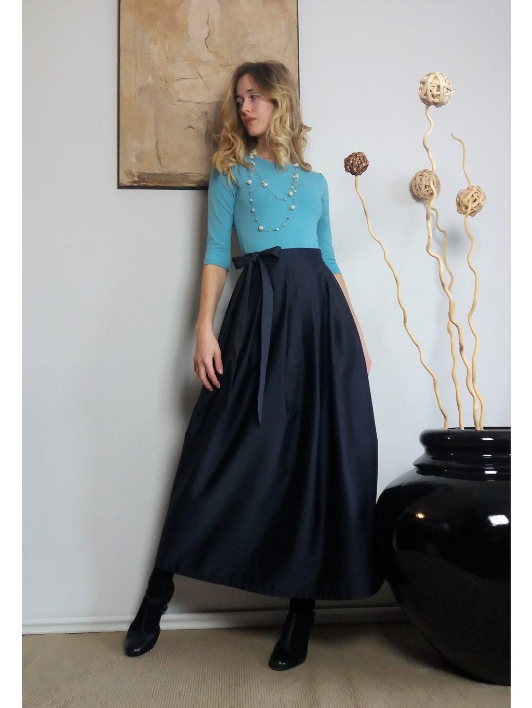 Dlouhá zavinovací sukně - tmavě modrá luxusní