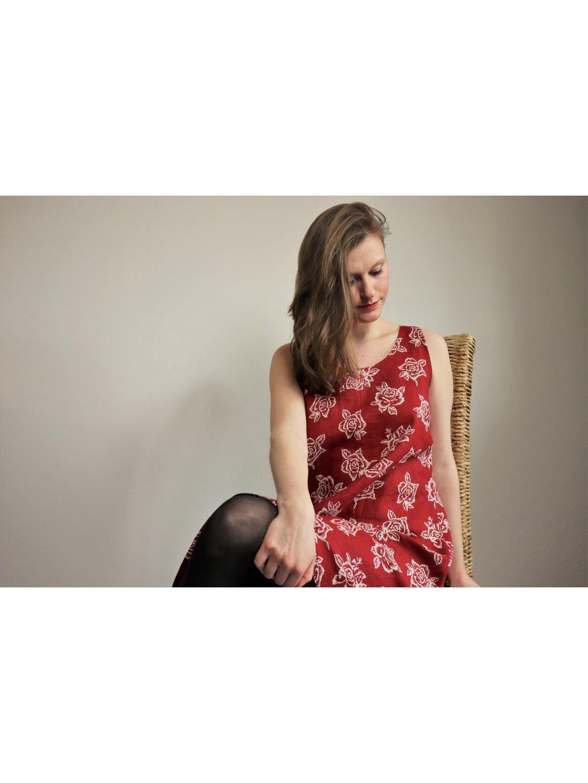 Lněné šaty - cihlové s květy