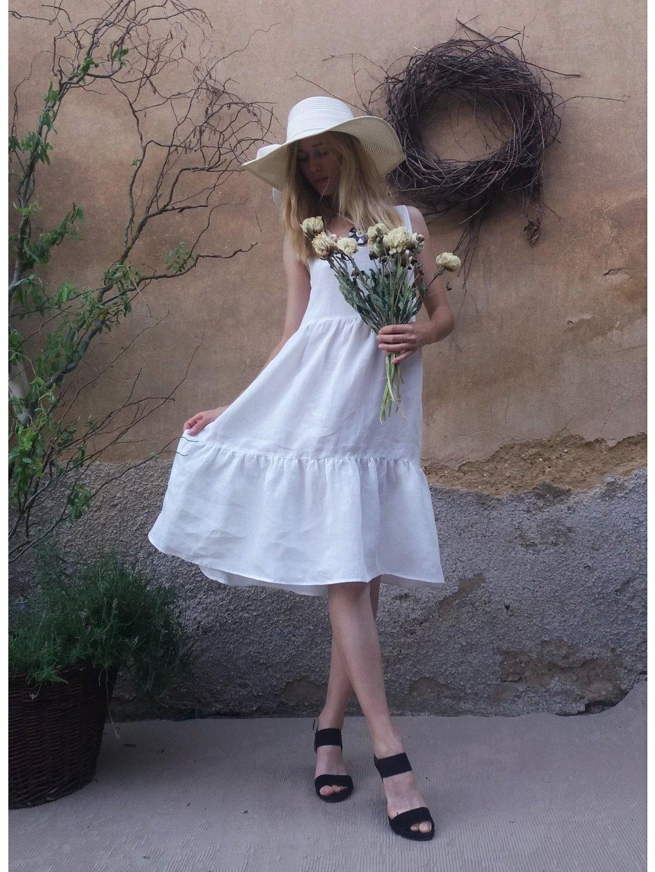 Lněné šaty - bílé s volánem