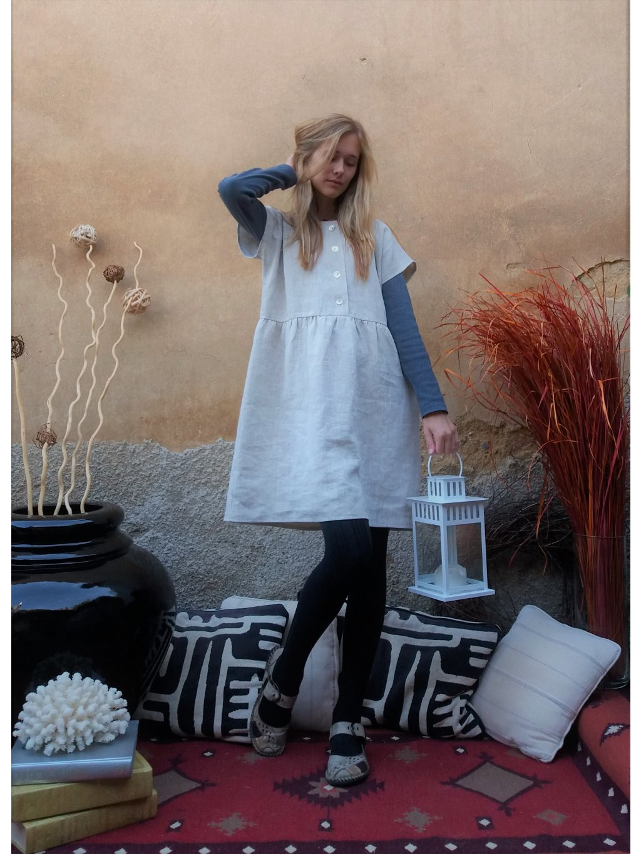 Lněné šaty - přírodní