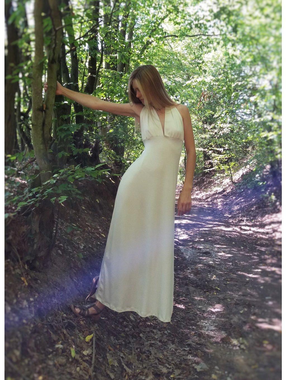 Úpletové dlouhé šaty - smetanové