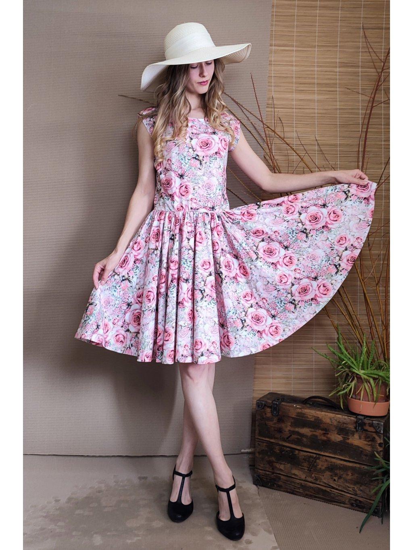 Krátké úpletové šaty - růže s kolovou sukní