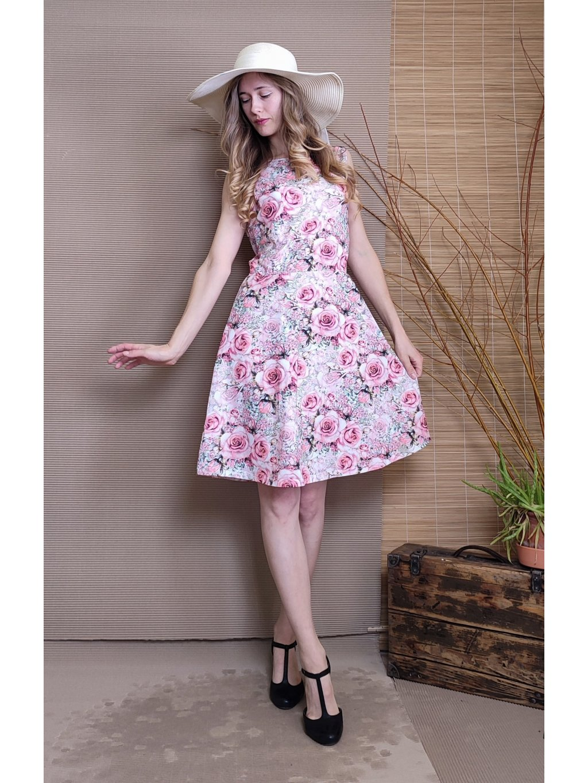 Krátké úpletové šaty - růže