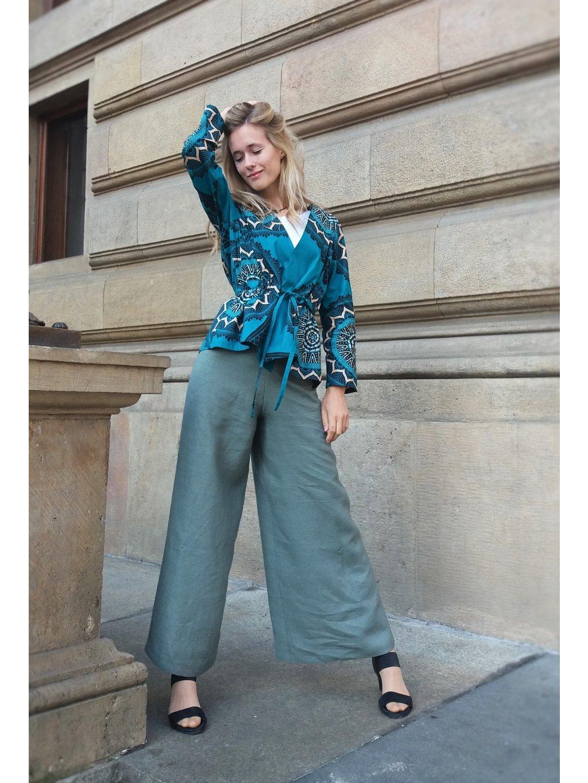 Zavinovací kalhoty lněné šedomodré