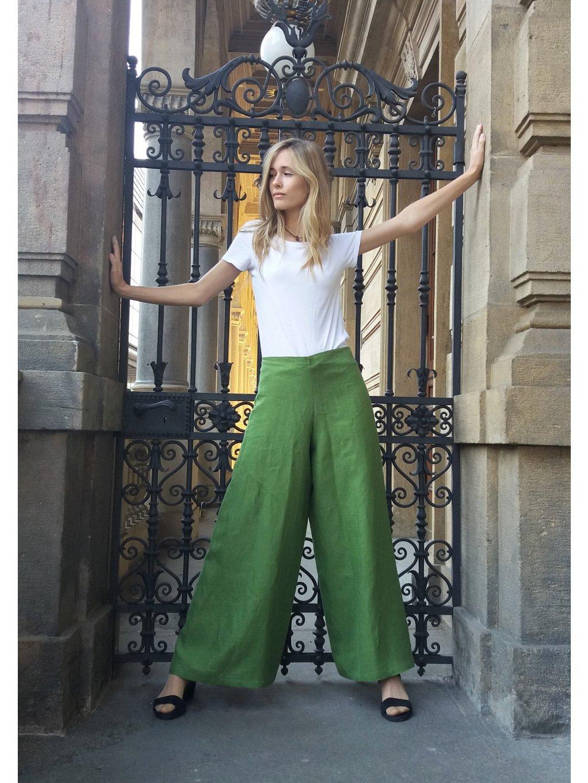 Zavinovací kalhoty lněné zelené