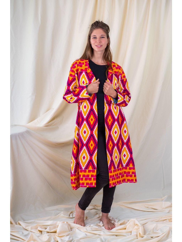 Kabát růžový kente