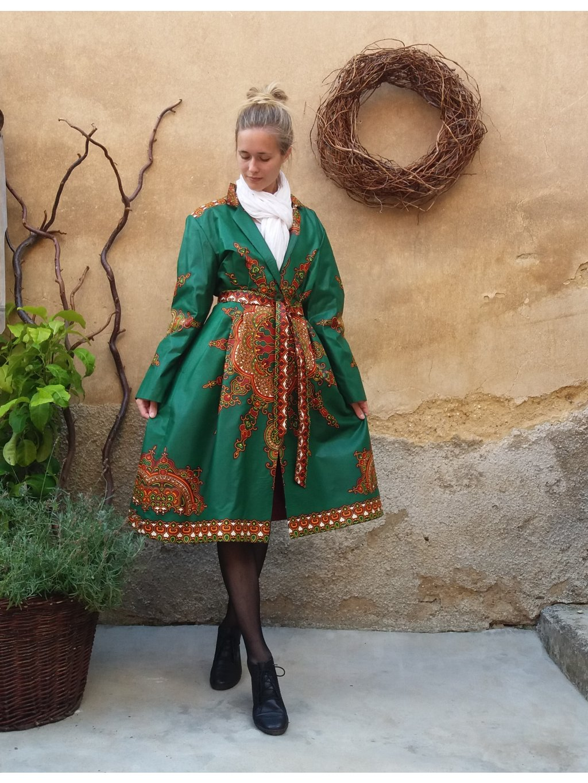 Kabát Afrika - zelený s ornamenty