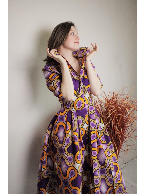Afrika košilové šaty -  Zlaté vlny