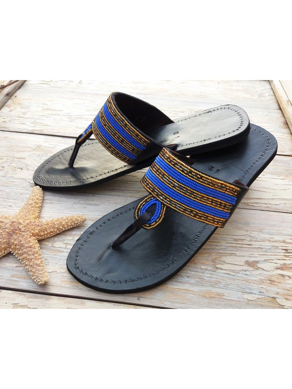 Hand made sandálky - modré korálky