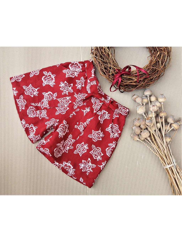 Lněné květované šortky