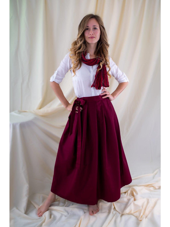 Dlouhá zavinovací sukně - bordó