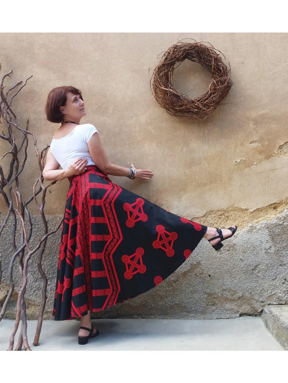 Kolová sukně černočervená