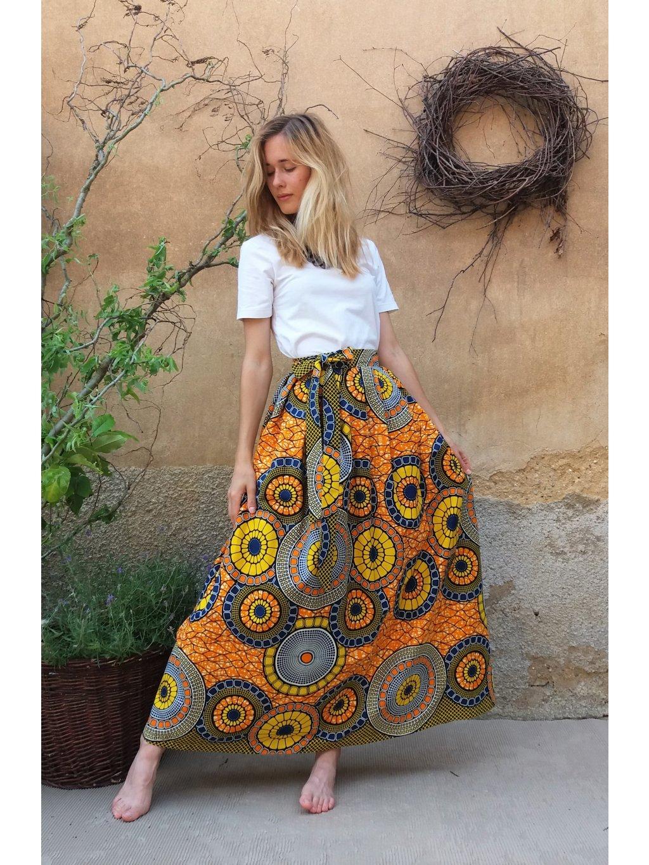Sukně africký žlutý design s koly