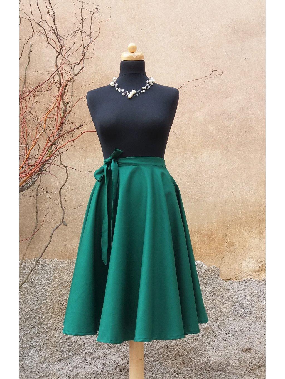 Kolová sukně smaragdová