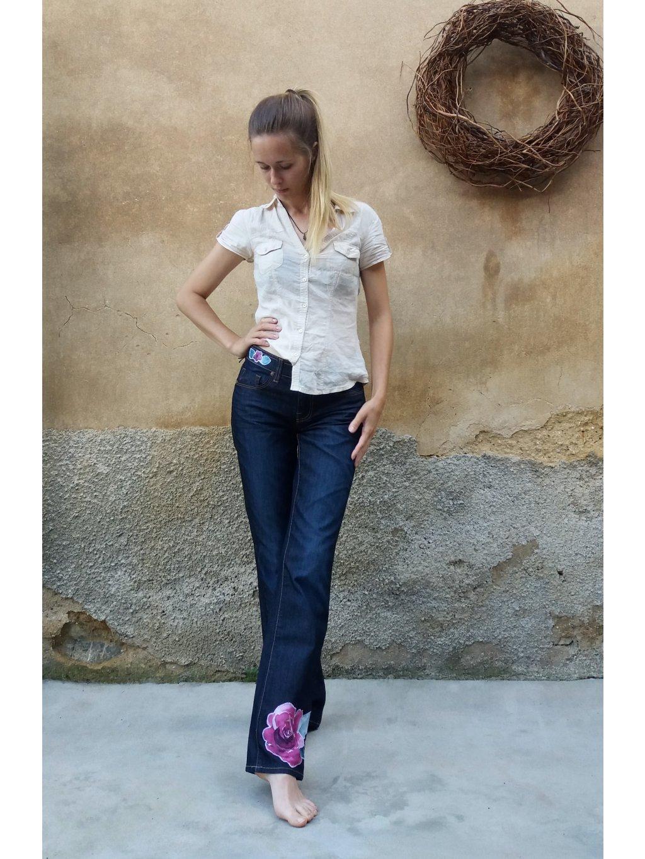 Jeans - akvarelový květ