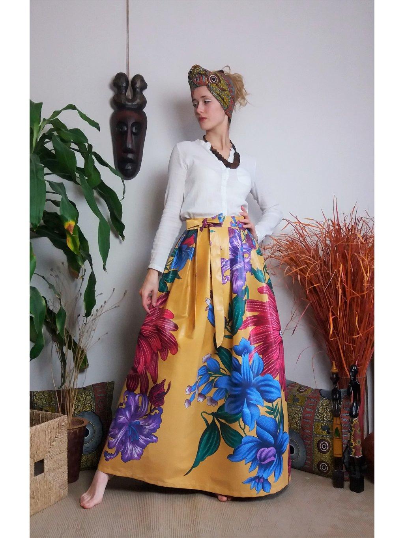 Sukně béžová velké květy - POSLEDNÍ KUS