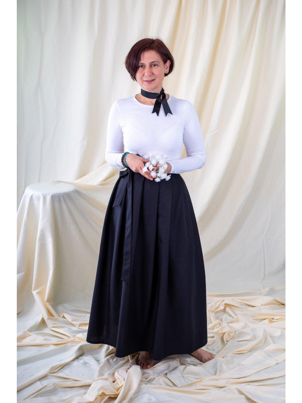 Dlouhá zavinovací sukně - navy