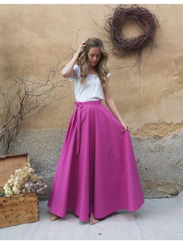 Kolová sukně fuchsiová