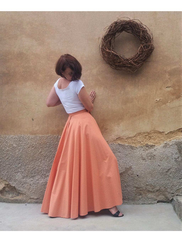 Kolová sukně skořice světlá
