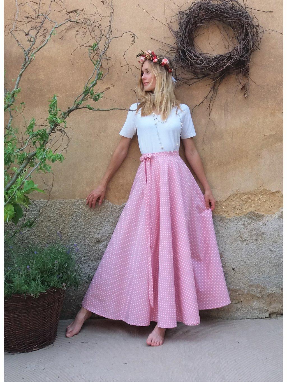 Kolová sukně starorůžová puntík