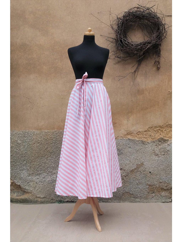 Kolová sukně růžový proužek