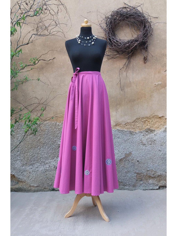 Kolová sukně fuchsiová ručně malovaná