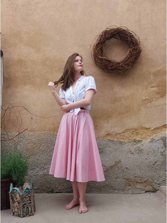 Kolová midi růžový puntík