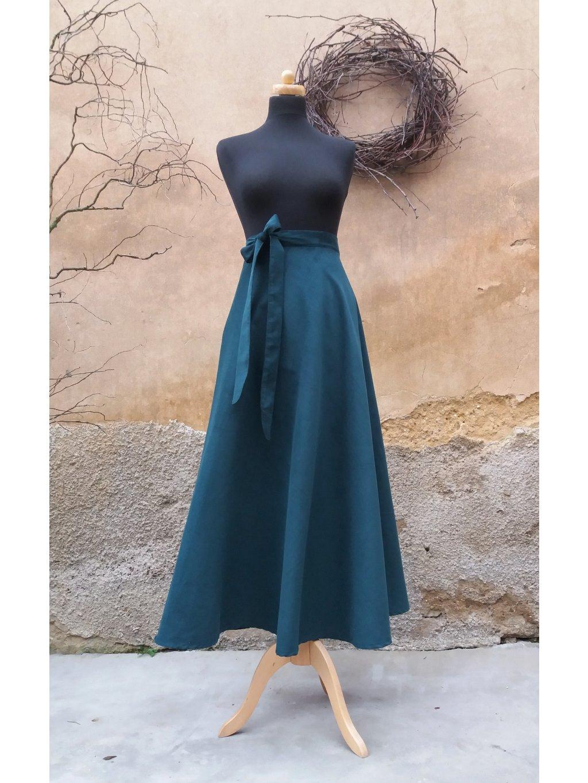 Půlkolová dlouhá sukně zelený manšestr