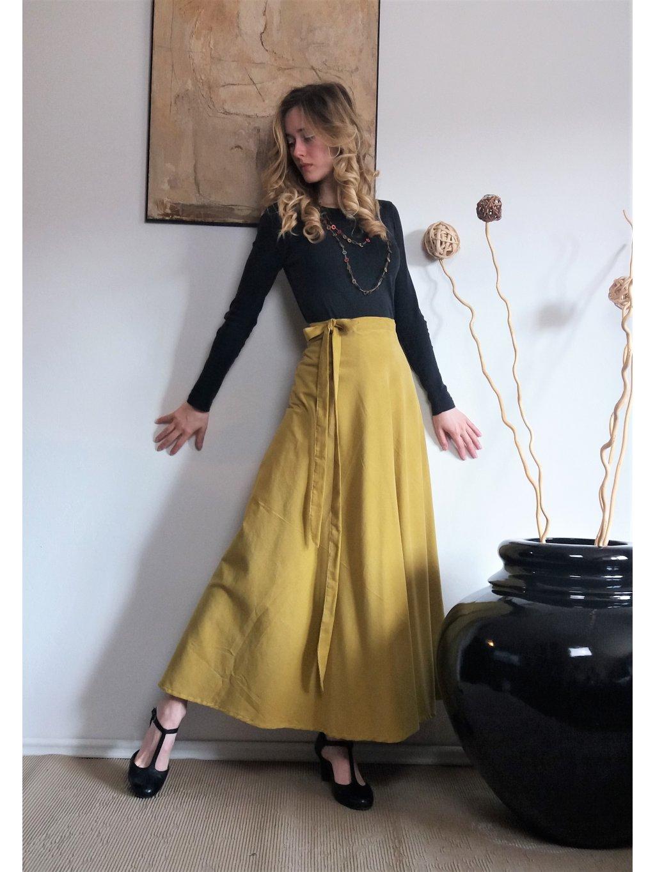 Půlkolová sukně curry