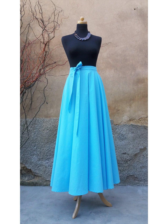 Kolová sukně světlý tyrkys