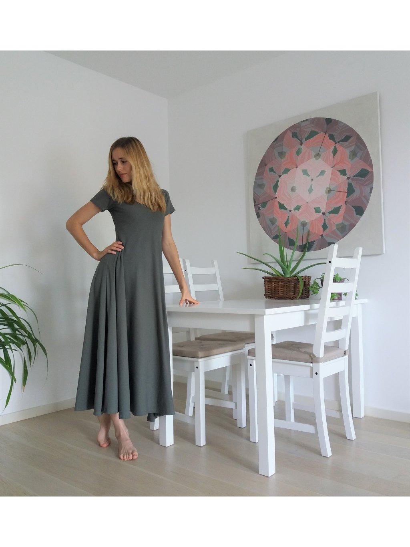 Elegantní khaki dlouhé s rukávem