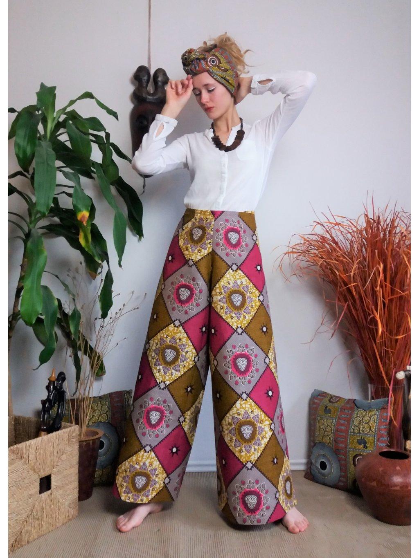 Zavinovací kalhoty růžové kosočtverce