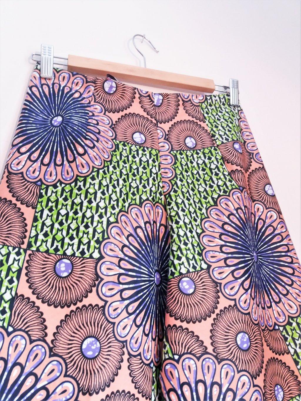 Zavinovací kalhoty - lososové květy