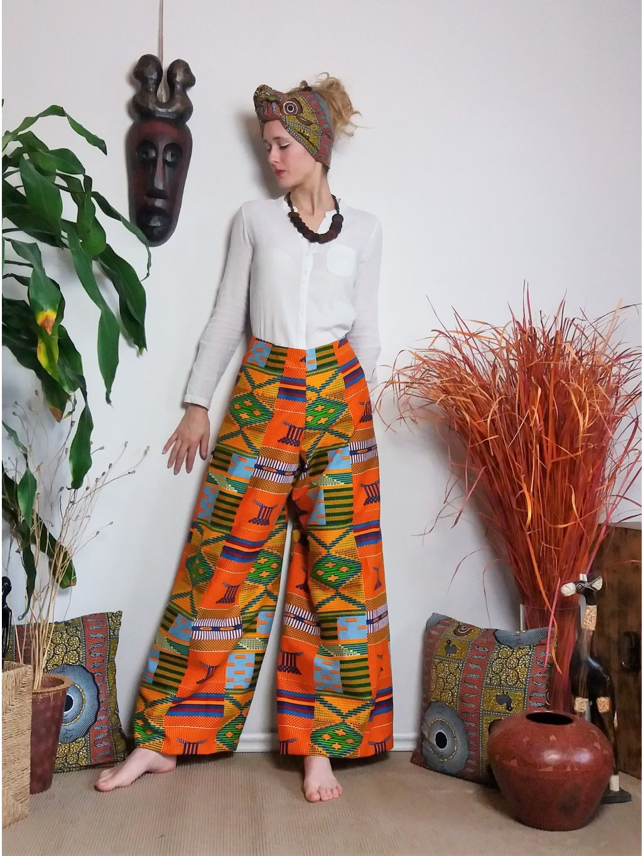 Zavinovací kalhoty oranžové kente