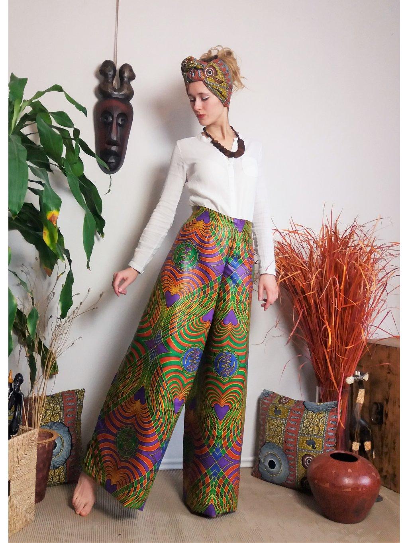 Zavinovací kalhoty satén