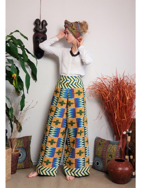Zavinovací kalhoty béžové kente
